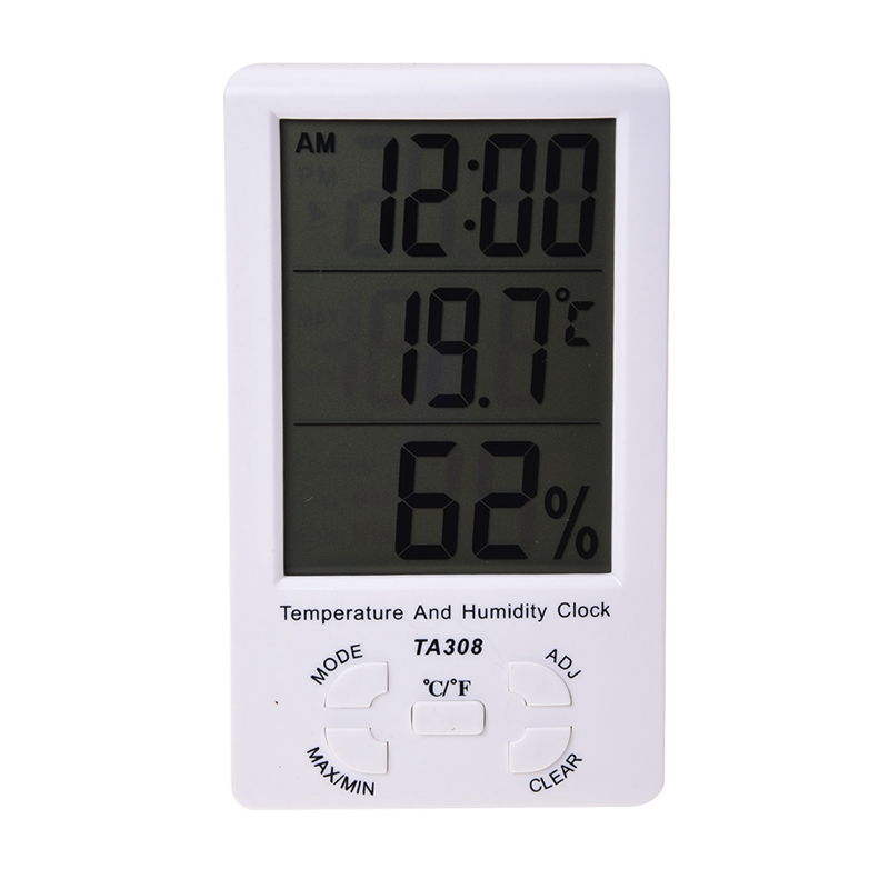 LED Screen Digital Thermometer Hygrometer for Indoor Outdoor Garden Patio White