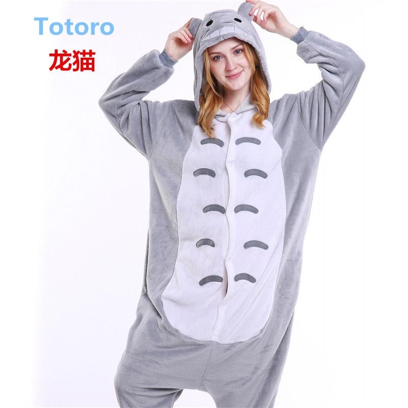 Totoro Pajamas Women Onesise for Adults Flannel Animal Pajamas Totoro Sleepwear Femmei/mujer Pijamas Enteros De Animales B-5424