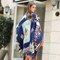 130*130 Nueva Llegada 2017 Famoso Diseñador de la Marca de Lujo de Las Mujeres 100% Impresión de Seda de la Tela Cruzada Cuadrada Bufanda Para Mujer Bufandas de Pashmina parís