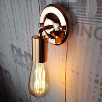 Rose gold finished DIY Wall light fixture E27 plated Loft american retro vintage iron wall lamp 90V 240V Antique lamp industrial|LED Indoor Wall Lamps|Lights & Lighting -