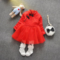 New spring and summer 2016 girls baby clothes dress small children red lace China red dress buckle for newborn girls clothes