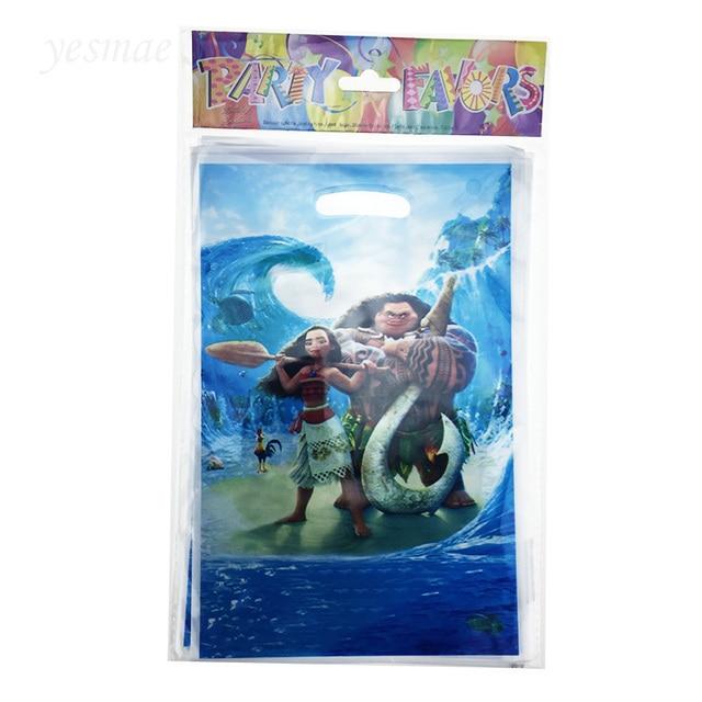 10pc Plastic Moana Theme Birthday Party Supplies Child Kids Decoration Return Gift Loot Bag Candy Box Cartoon Pattern
