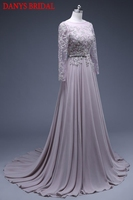 Long Sleeve Lace Evening Dresses Party Beaded Chiffon A Line Beautiful Women Prom Formal Evening Gowns