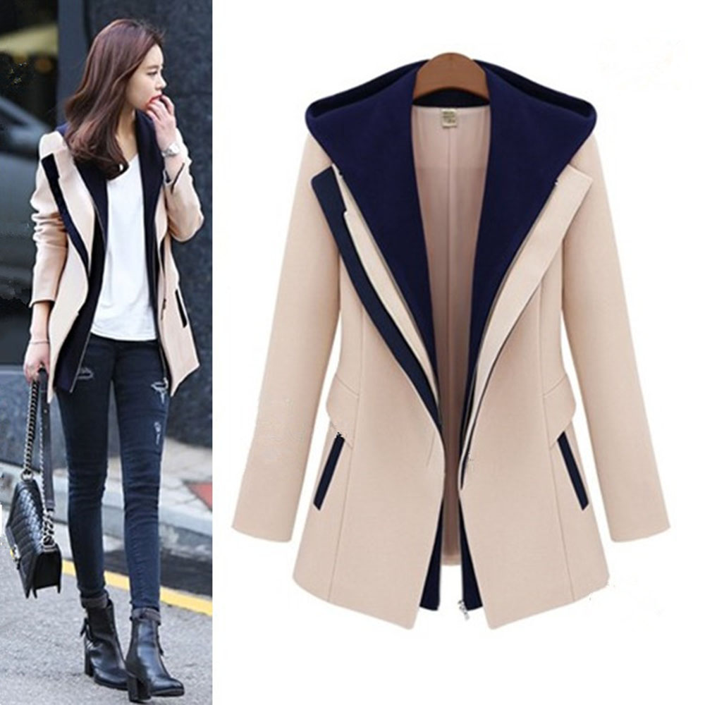 Free Shipping New listing Autumn winter New Women Slim woolen coat Fake two Wool Blends Outwear