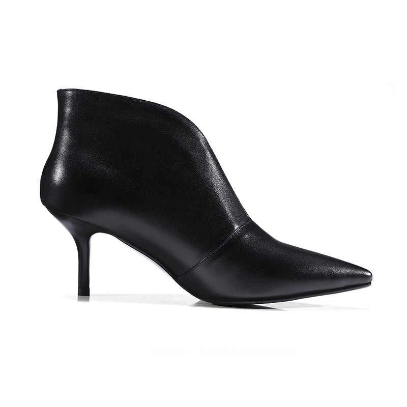 ISNOM Neue 2019 Echtem Leder Stiefeletten Frauen Dünne Heels Schuhe spitz Slip auf Schuhe Weibliche Herbst Boot Hohe OL Schuhe