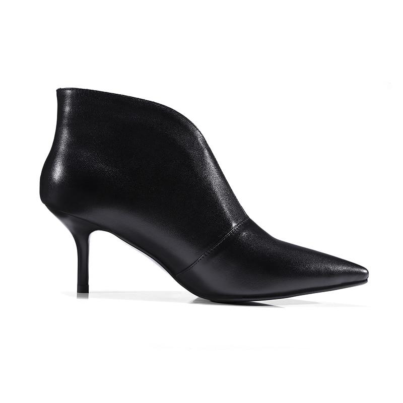 Nuevas botas de tobillo de cuero genuino de 2019 para mujer, zapatos de tacón fino, zapatos de punta estrecha, calzado, botas de otoño para mujer zapatos OL-in Botas hasta el tobillo from zapatos    3