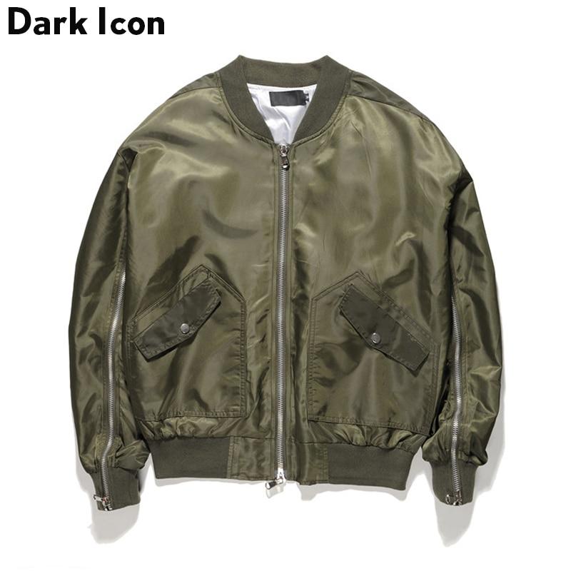 Elastic on Sleeve Bomber Jacket Men 2017 Autumn New Fashion High Quality Back Pocket Zippers Jackets Men Black Green Grey