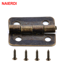 50PCS NAIERDI Mini Bronze Gold Hinge Square Antique Door Hinges For Wooden Cabinet Drawer Jewellery Box Furniture Hardware 100pcs 30 18mm antique bronze metal buckles latches catches wooden gift packaging floret jewellery box drawer cabinet door fix