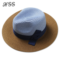 Korean Version Women Holiday Cap Blue Coffee Hit The Color Spell Color Bow Visor Beach Hat