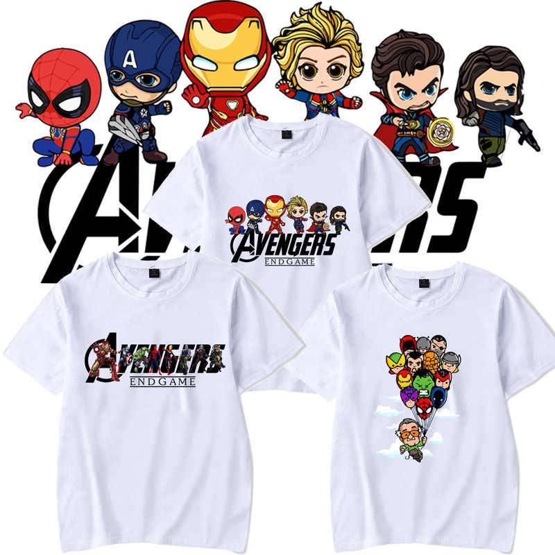 Avengers Endgame Men T Shirt Marvel Cute Cartoon Pattern Anime Tee MCU Harajuku Large Size 4XL Streetwear Unisex Drop Shipping