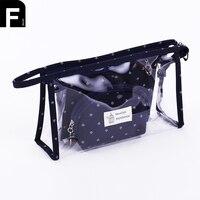 High Quality 3pcs Set Anchor Printed Makeup Bags Female Waterproof Portable Cosmetic Bags PVC Travel Ladies