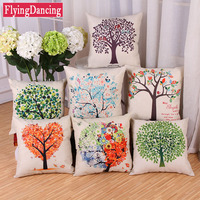 Colorful Tree Printed Soft Linen Home Decorative Pillow For Sofa Car Office Cushion Home Decor Throw