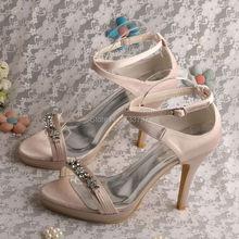 Wedopusการออกแบบใหม่ผู้หญิงแต่งงานเจ้าสาวรองเท้าประกายเปิดเปลือยเท้าแพลตฟอร์มรองเท้าส้นสูง