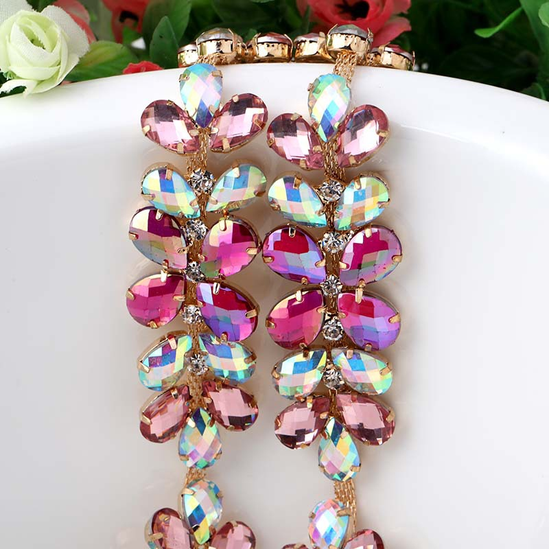 HOT SALE ! Fancy Glass Crystal Sew On Rhinestone Chain DIY Watch And Headpiece Jewelry Accessories 1 Yard