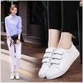 Mulheres couro Genuíno Hook & Loop sapatos rasos estudantes sapatos fundo macio pequenos sapatos brancos