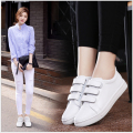 Women Genuine leather Hook&Loop flat shoes  students shoes soft bottom small white shoes