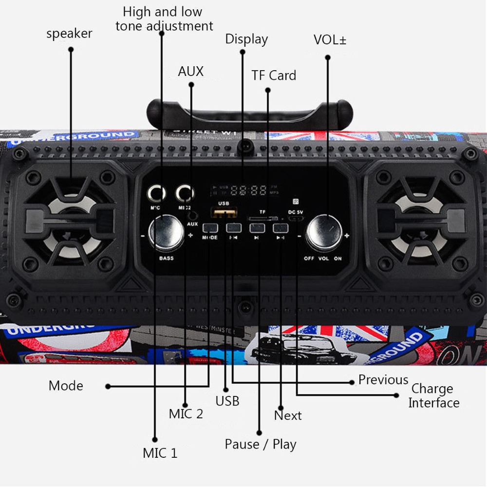 DJYG subwoofer 15W Big Power Wireless Bluetooth Speaker Portable Cool Graffiti Hip hop Style Adjustable Bass Outdoor Music pla in Portable Speakers from Consumer Electronics