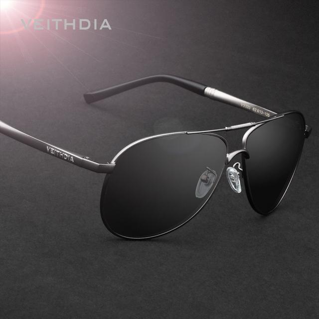 Lente Polarizada Óculos De Sol Espelho Óculos de Sol dos homens óculos de sol VEITHDIA Masculinos Eyewears Acessórios Para Homens 3320
