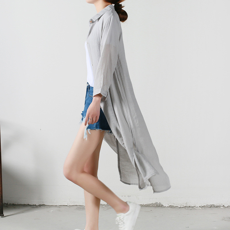 b2fbb2b45 € 17.03 |Clothing blusas largas de las mujeres de protección solar del  verano de algodón de lino blusa delgada camisa larga femenina abrigos de ...