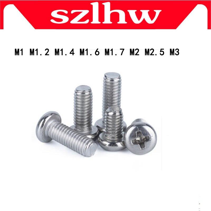 High Quality 100pcs/lot DIN7985 Stainless Steel Round Pan Head Philips Micro Machine Screw M1 M1.2 M1.4 M1.6 M1.7 M2 M2.5 M3