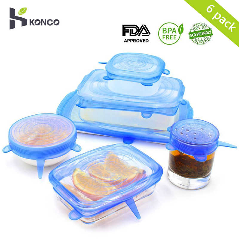 c896d80f18654 KONCO 6Pieces Silicone Stretch Lids Cookware Lids universal lid Silicone  food wrap bowl pot cove Kitchen