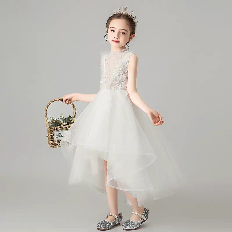 Image 4 - Children Little Girls Solid White Birthday Holiday Party Front 
