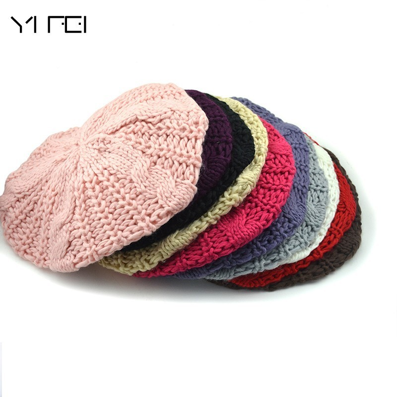 YIFEI Women Hat For Autumn Winter  Knitted Wool Beret Hat Cap 2018 New Female Casual Hat Hand-knitted Cap Boina Feminina Gorras