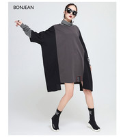 Phụ nữ Ăn Mặc Bán Cộng Với Kích Thước Miễn Phí Shippinglarge Kích Thước của Phụ Nữ 2018 Mùa Xuân Mới Cao Cổ Áo Nối Dài T Áo Không Thường Xuyên ăn mặc