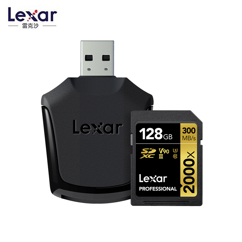 Original Lexar 300MB/s 64GB Memory SD Card 32gb 128GB 2000x SDXC UHS-II U3 Flash Hight Speed Card For 3D 4K Digital DSLR Camera
