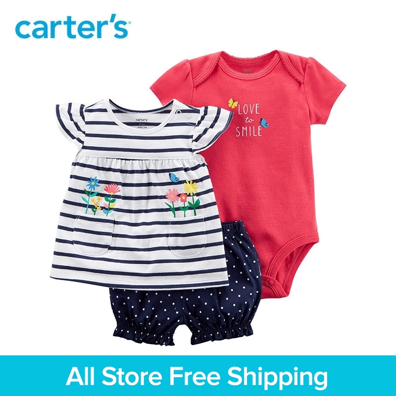3pcs clothing sets Flutter sleeves striped tee slogan bodysuit polka dots shorts Carter's baby Girl soft cotton Summer 121I394 contrast trim ribbed tee with striped shorts