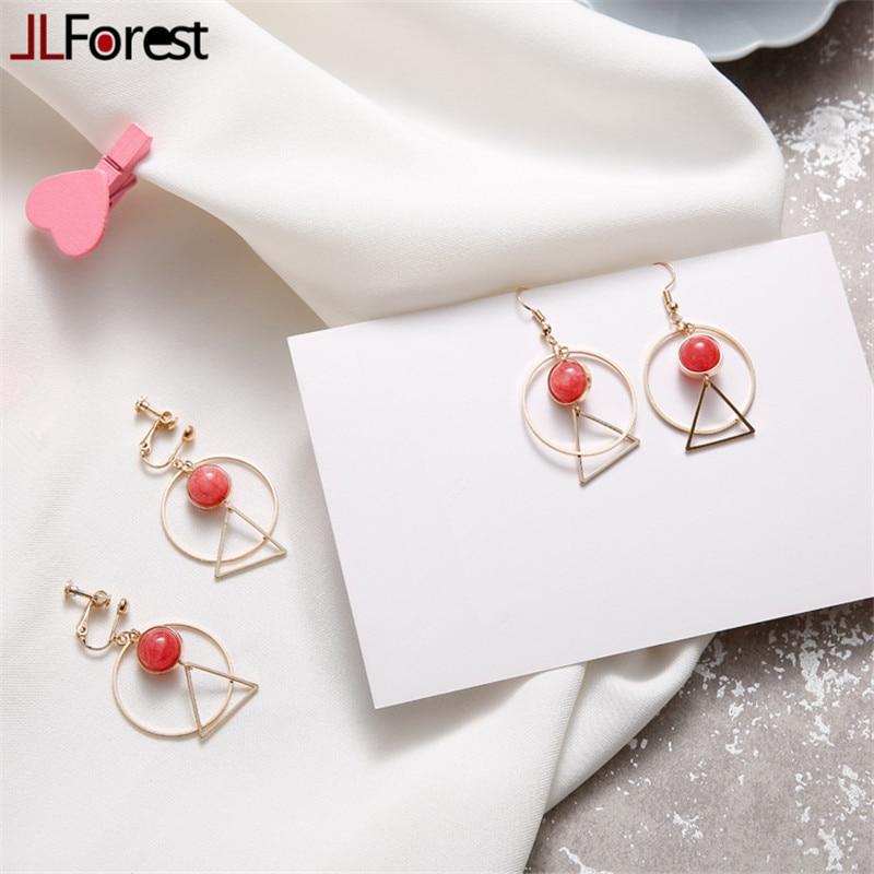 Buy JLForest Pink Strawberry Crystal Dangle Earrings For Women Metal Circle Triangle Drop Earrings Elegant Vintage Earrings Jewelry for $5.79 in AliExpress store