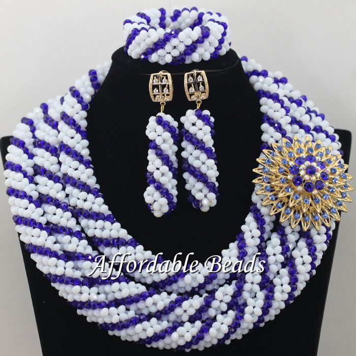 Shining African Gold Jewelry Set New Nigerian Wedding Necklace Best Design Handmade Item NCD084