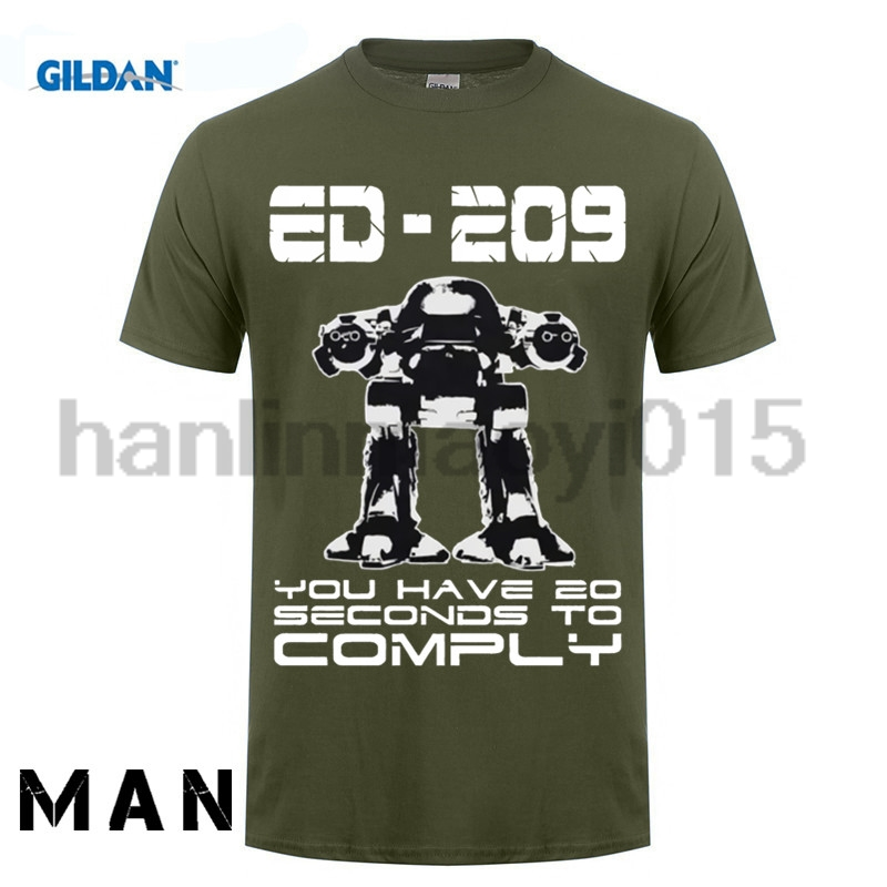 Gildan 100% algodón o-cuello camiseta impresa Robocop camiseta Ed 209