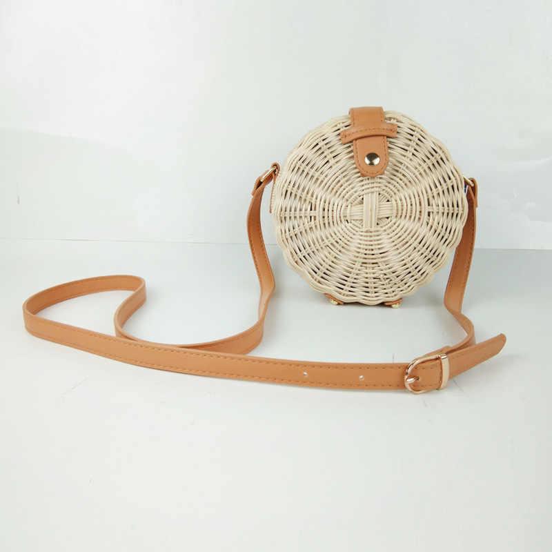 Круглые соломенные сумки, женская летняя сумка из ротанга, ручная работа, тканая пляжная сумка-Кроссбоди, круглые богемные роскошные сумки, женские сумки, дизайнерские