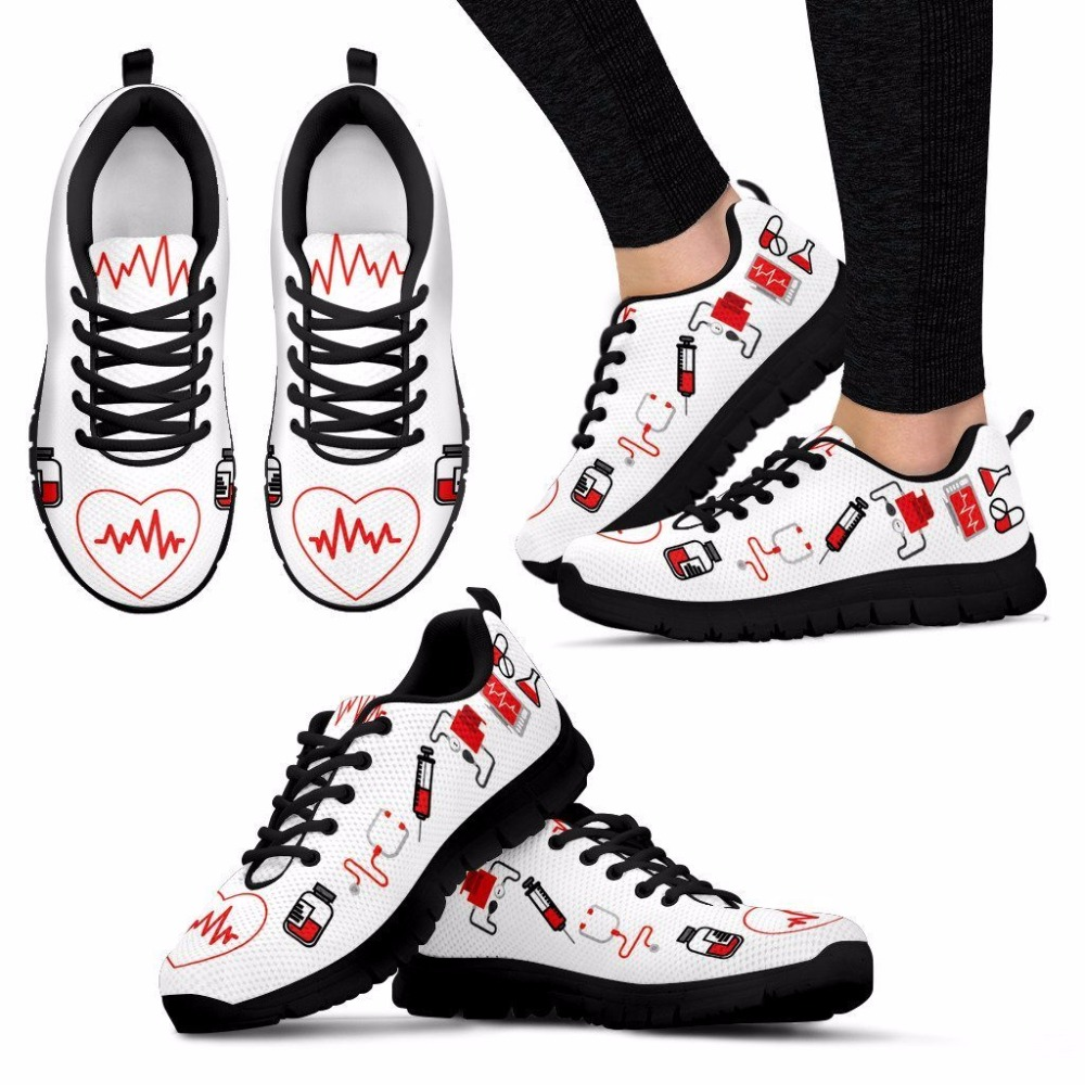 Women Flats Shoes Nurse Heart Print Casu