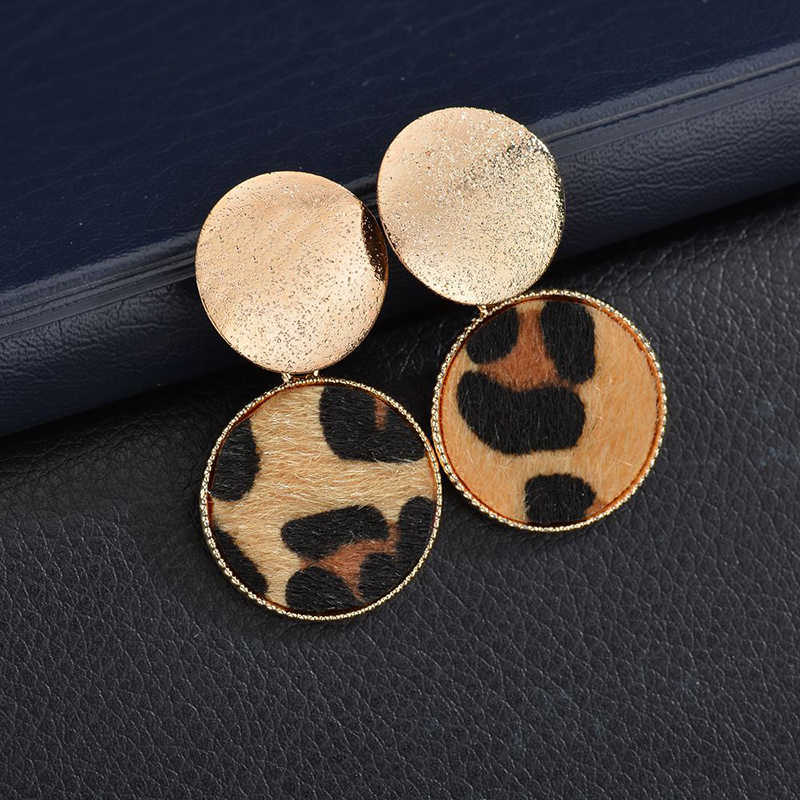 Fashion Round Leopard Earrings Women  Cute Colorful Fur Gold Color Pendant Dangle Earrings For Women Statement Jewelry Gift