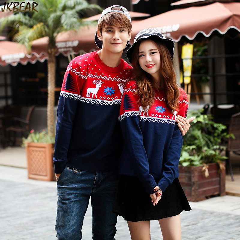 54bb706f78 Contrast Color Matching Christmas Sweaters for Couples Cute Reindeer  Snowflake Printed Pullovers S XXL-in Pullovers from Men's Clothing on  Aliexpress.com ...