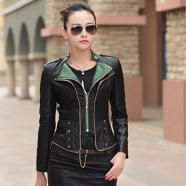 Leather Jacket Coat Women 2016 Autumn New Fashion Slim Skin Coat Female Plus Size Outerwear 5 colors High Quality