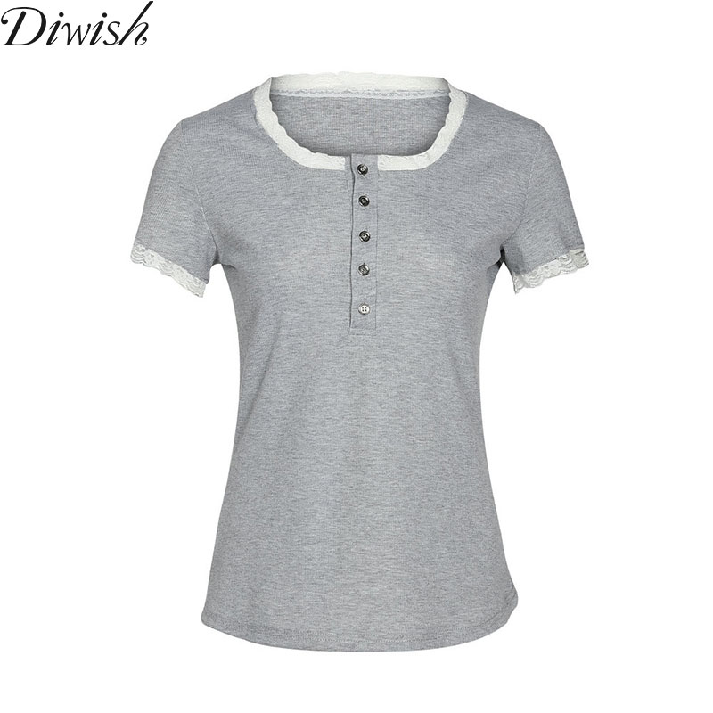 Diwish New Arrival Women Tops And T-Shirt Sexy Fashion Lace Button Tops Women Solid O-Neck Tees Tops Slim Fit Women Tshirt
