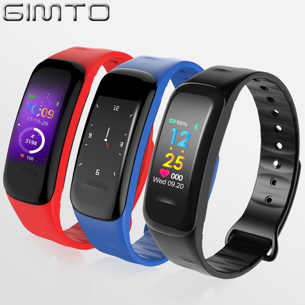 GIMTO 2018 Sport Smart Bracelet Watch Women Men Digital LED Clock Blood Pressure Heart Rate Calories Pedometer For iOS Android