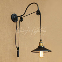 Retro Loft Style Lift Edison Wall Sconce Industrial Wall Lamp Iron Mirror Glass Vintage Wall Light Fixtures Lampe Murale