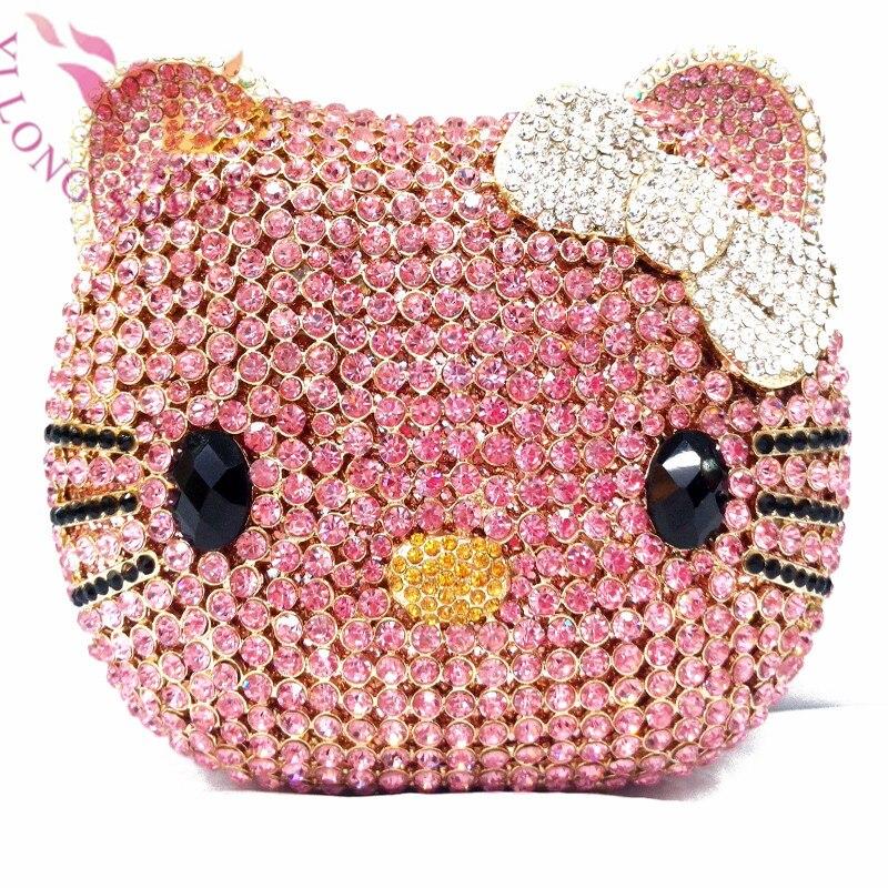 Pochette Diamante nouveau joli chat sac de soirée en cristal fantaisie pochette en YLS-A02 rose
