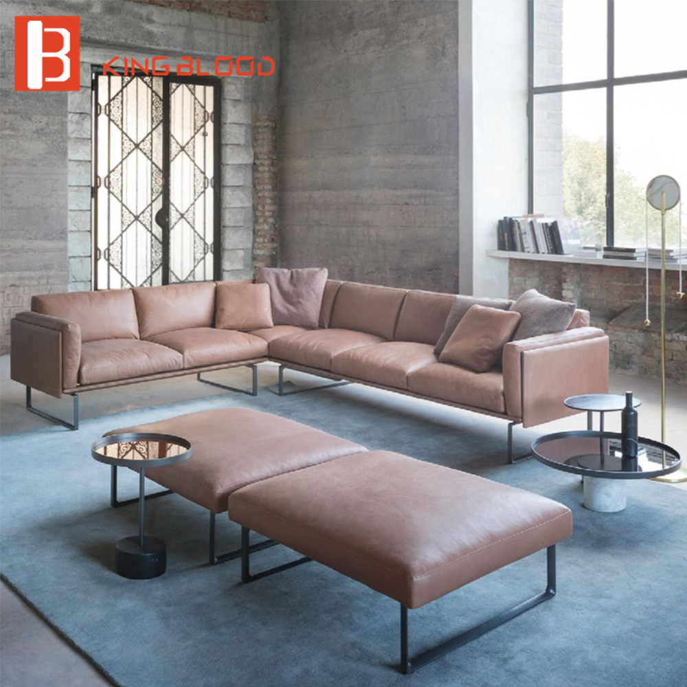latest italy natuzzi living room nappa leather corner sectional sofa