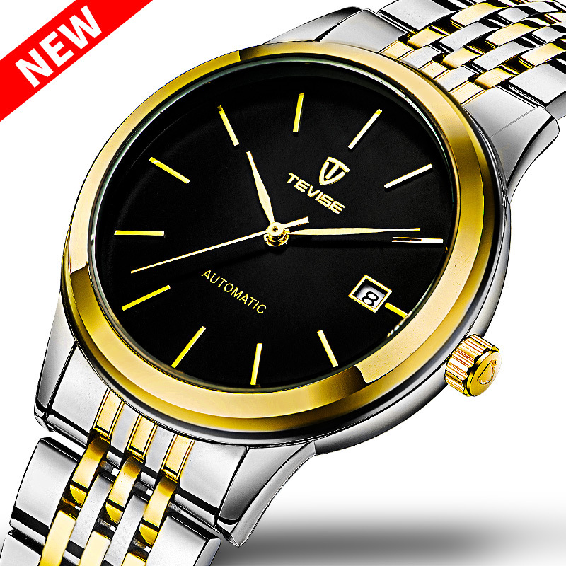 TEVISE Luxury Business Watches Top Brand Automatic Watch Men Date Sapphire Mirror Mechanical Watches holuns original luxury automatic mechanical watch golden big dial sapphire mirror hollow watch men casual retro leather watches