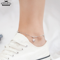 DELIEY Real 925 Sterling Silver Love Heart Anklets Chain Beach Foot Jewelry Barefoot Sandals Ankle Bracelets For Women Girls