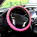 girl pink cute cartoon covers on the car steering wheel
