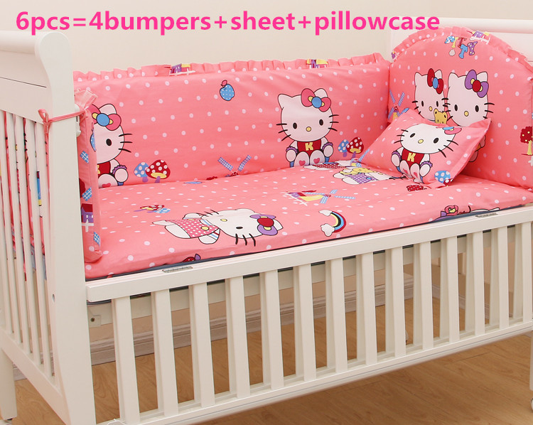 ФОТО Promotion! 6PCS Kitty Baby bedding set cotton crib bumper baby cot sets baby bed bumper,include:(bumpers+sheet+pillow cover)