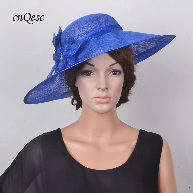 Exclusive design Cobalt blue Large saucer Hatinator Sinamay Royal Wedding  hat Fascinator Fedora for Kentucky Derby def059cc0ae