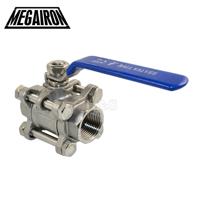 MEGAIRON High Pressure 3 Piece Full Port Ball Valve BSPT Thread Type SS316 Max 1000 psi Manual Handle Stainless Steel 316
