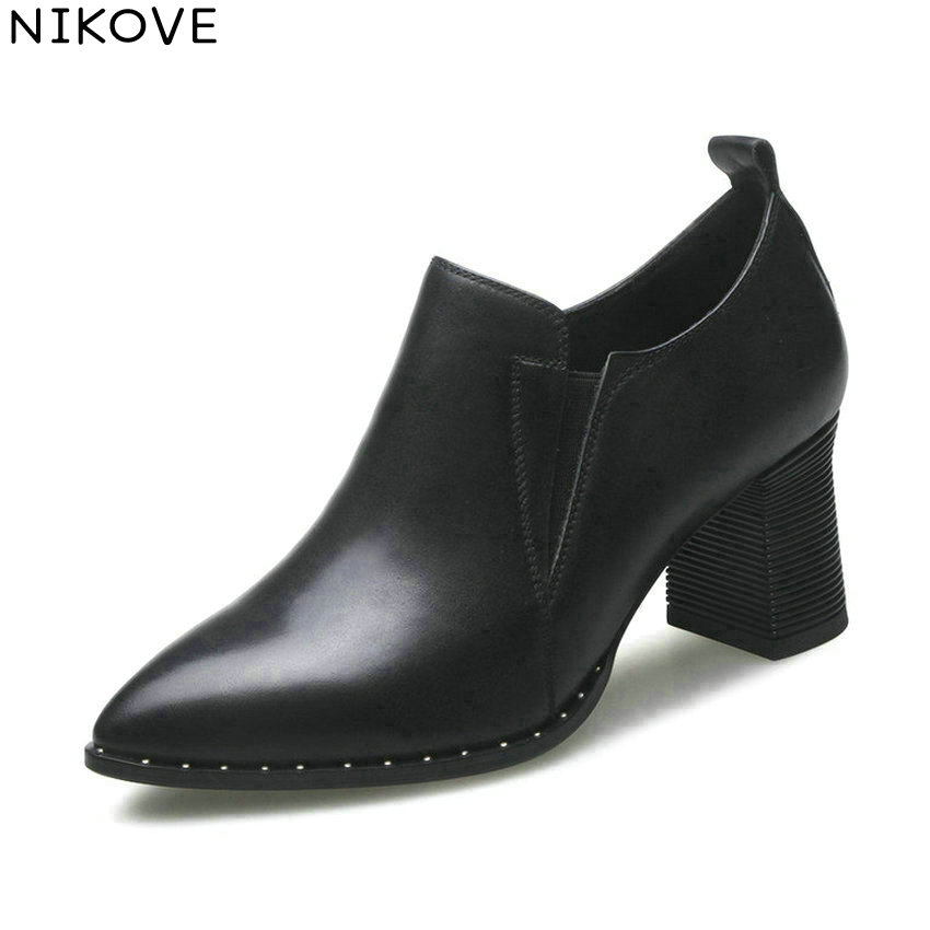 NIKOVE 2018 Women Pumps Slip on Western Style Pointed Toe Square High Heel Shoes Fashion Cow Leather PU Ladies Shoes Size 34-42 summer style flat shoes women fashion slip on flats fashion pointed toe footwear ladies cross strap zapatos mujer size 35 39
